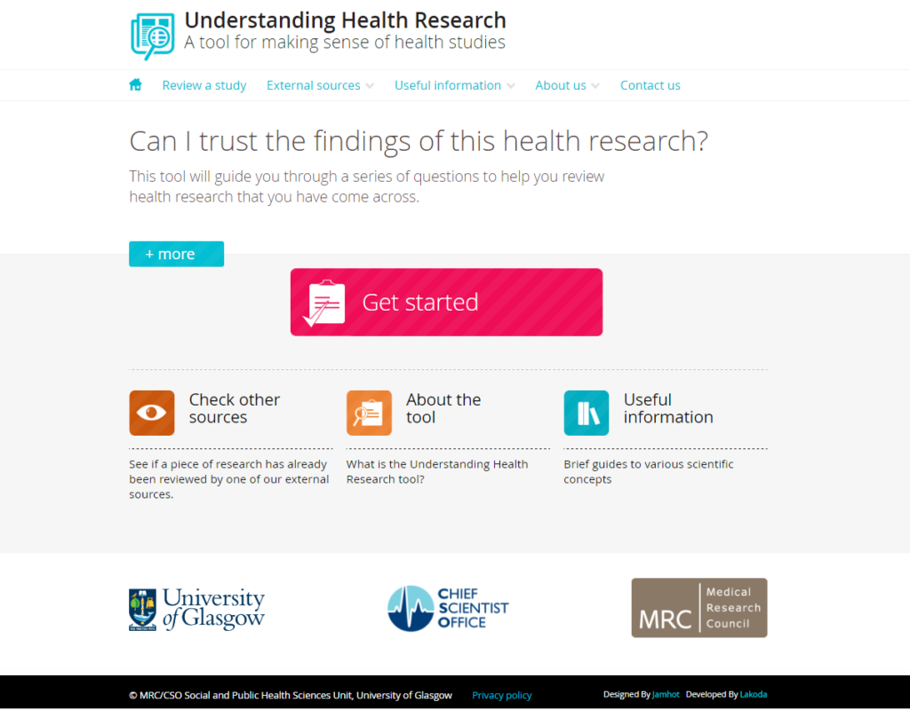 Understanding Health Research Tool screen
